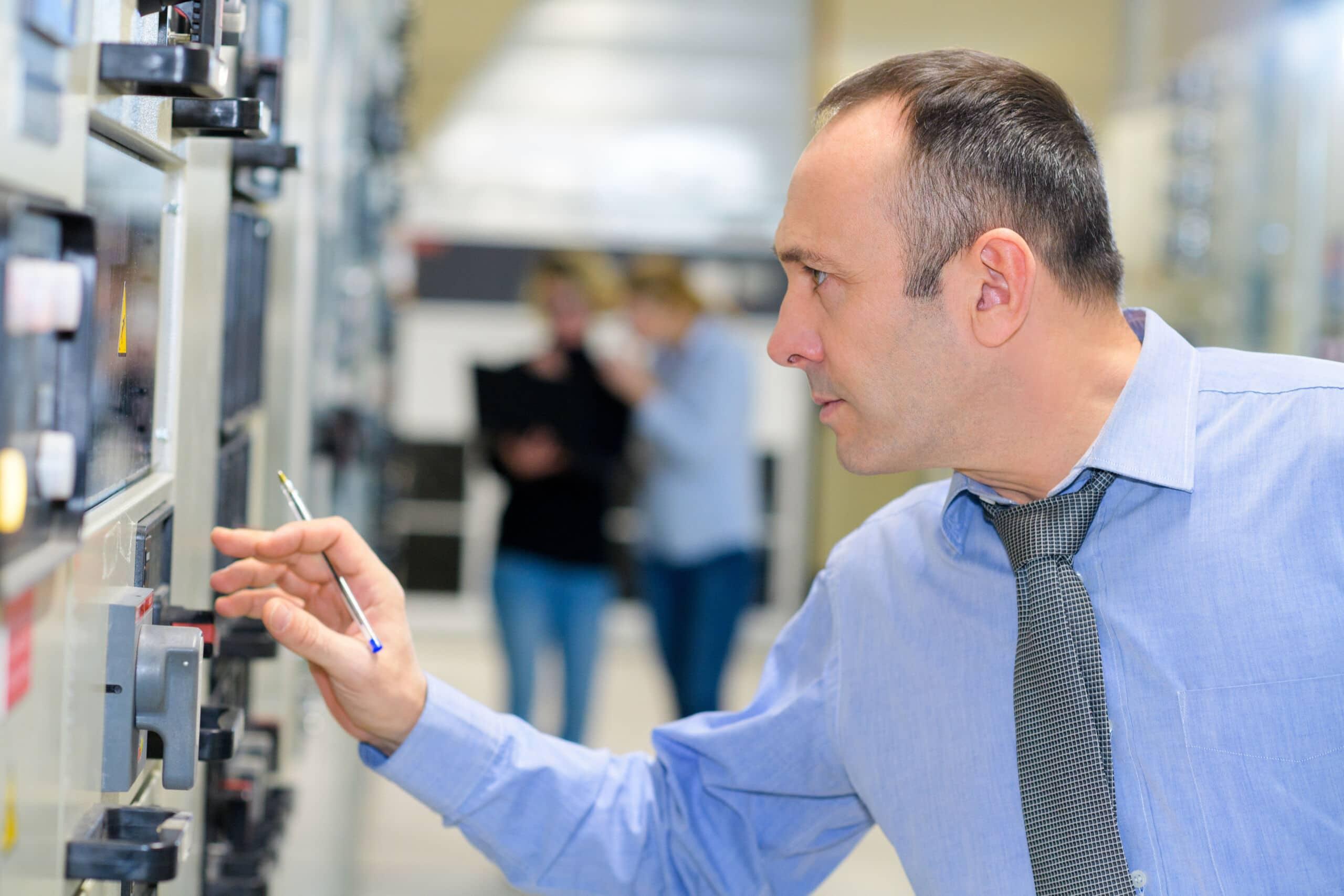man engineer in factory